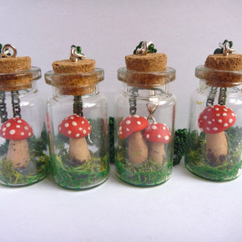 Mushrooms in a jar necklace by ManthaCreaMiniatures on Etsy