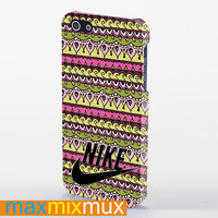 Nike Logo On Tribal Pattern 2 iPhone 4/4S, 5/5S, 5C Series Full Wrap Case
