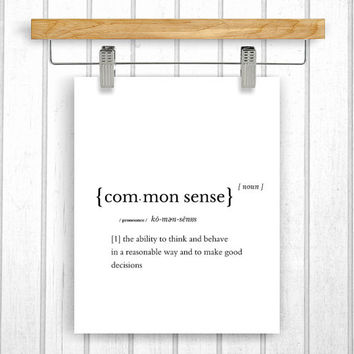 Common sense definition | Dictionary word | Common sense print | Instant download | Printable quote | Dictionary art print | Poster quote