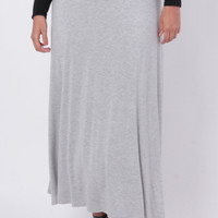 Plus Size Fold Over Maxi Skirt - Heather Grey
