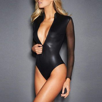 CFYH 2017 New Sexy Black Catwomen Jumpsuit Grenadine Sleeve Latex Catsuit Costumes for Women Body Suits Fetish Leather Jumpsuit