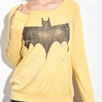 junk food - women's bat man splatter tee (sunshine)  - 80's Purple