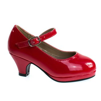 Dana63K Red Patent By Forever Link, Girl Round Toe Mary-Jane Pump w Platform. Children Shoes