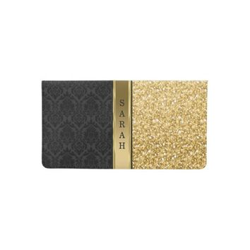 Monogrammed Black Damask And Gold Glitter Checkbook Cover