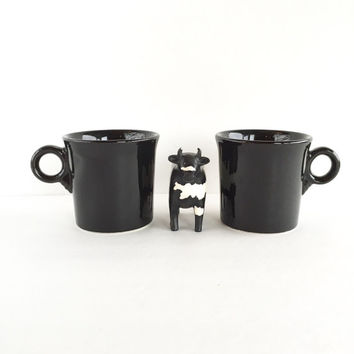 Pair of Vintage Fiestaware Black Coffee Cups