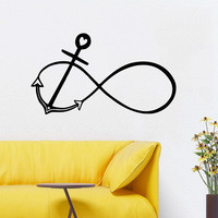 Anchor Wall Decals Marine Interior Design Home Infinity Sign Vinyl Decal Sticker Art Mural Boy Kids Nursery Baby Room Bedroom Decor KG836