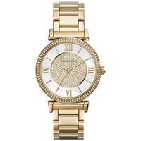 Michael Kors MK3332 Women's Catlin Midsized Crystal Pave MOP Dial Yellow Gold Steel Bracelet Watch