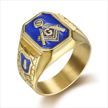 2018 New arrived Gold color Men Hip hop Free Mason Rings fashion Stainless Steel vintage Masonic ring male Hiphop jewelry gifts