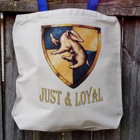 Just and Loyal Tote Bag.  Hufflepuff House Fandom Bag. Cotton Canvas Bag.