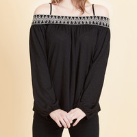 LE3NO Womens Boho Off Shoulder Flowy Top with Embroidery (CLEARANCE)