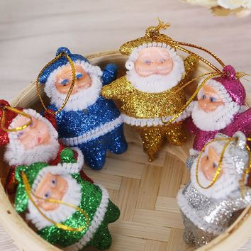 Christmas Pendent 6 pcs Multi-Color Santa Claus Party Ornaments Xmas Tree Hanging Decor