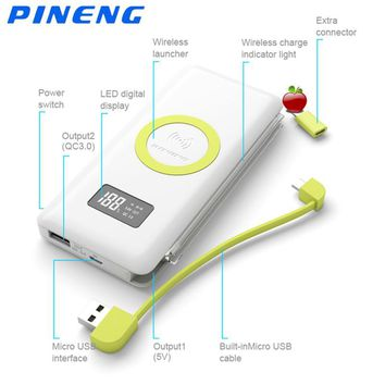 Pineng Power Bank 10000mAh QC3.0 Wireless External Battery Ultra-thin LED Display for Samsung Bateria Externa Mobile Power Bank