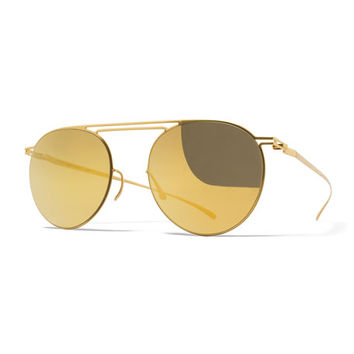 Essential Floating-Lens Round Sunglasses, Gold