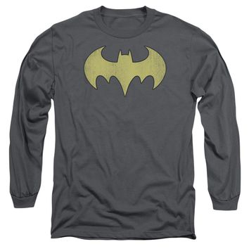 Dc - Batgirl Logo Distressed Long Sleeve Adult 18/1 Officially Licensed Shirt
