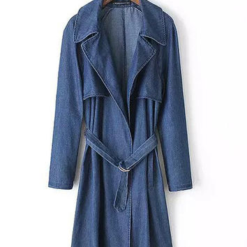 Blue Cape Accent with Belt Casual Denim Trench Coat