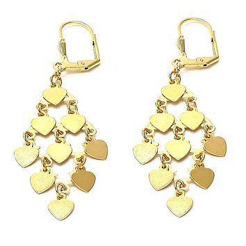 Gold Layered 02.63.2199 Chandelier Earring, Heart Design, Polished Finish, Gold Tone