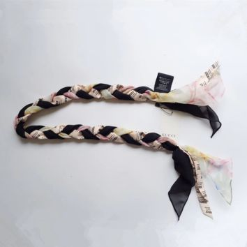 GUCCI Invite and Flowers-print braided-silk headband