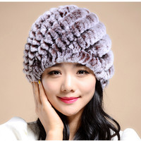 Knitting rabbit fur hat winter cap hats for women new fashion 2015 Genuine rabbit fur hat Stripe Fur Caps