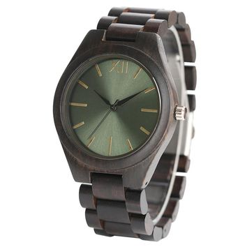 Full Wooden Nature Ebony Wood Watch Men Gift Male Wrist Watch Fashion Creative Bracelet Fold Clasp Trendy Green/Blue/Yellow Face