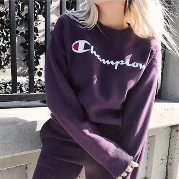 """Champion"" Unisex Retro Fashion Letter Print Long Sleeve Sweater Couple Loose Casual Violet Tops"
