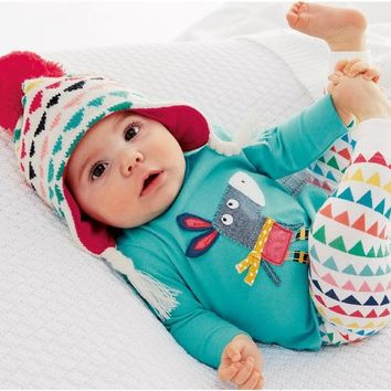 Spring /autumn baby outfits /rainbow triangle leggings /embroidery donkey