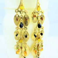 Vintage gold dangle earrings with black, yellow,and brown beads cute jewelry gift 21