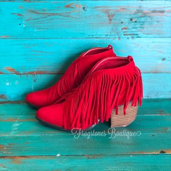 Carrie- Red Suede Fringe Booties