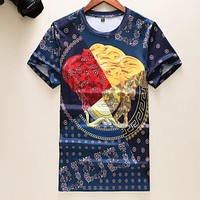 VERSACE Summer Fashion Men Women Casual Print Short Sleeve T-Shirt Top Blouse