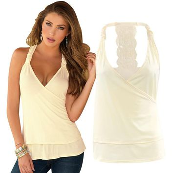 2017 New summer ladies halter tops deep V neck sexy tank top back lace transparent open back vest slim fitness clothing