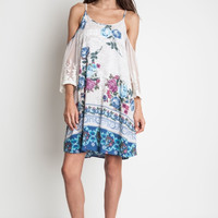 Floral Print Cold Shoulder Dress with Lace Sleeves