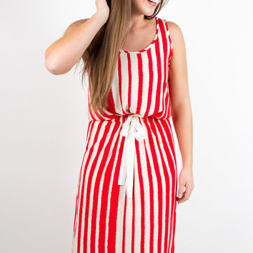 Glam Jagged Stripe Tank Dress