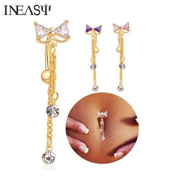 ac DCCKO2Q Belly Piercing Navel Nail Medical Steel Reverse Belly Button Ring Angle Bowknot Navel Bar Silver Plated Body Jewelry Piercing