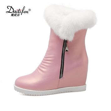 Daitifen Rabbit Fur Ankle Boots 2017 Hidden Wedges Snow Boots High Heels Platform Boots Autumn Winter Zipper Boots Shoes Woman