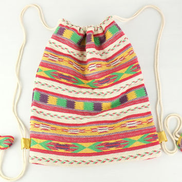 Yellow Southwest Tribal Drawstring bag Native Knapsack Mexican Cinch bag Backpack