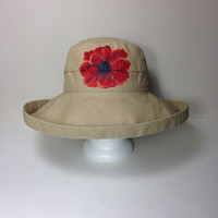 Scala Hat Cotton Big Brim with Drawstring Hand Painted Red Poppy