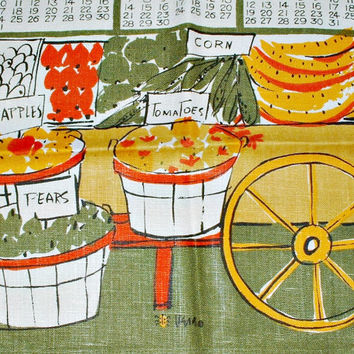 Vera Neumann Towel Fruit Stand Vintage 1965  Calendar Ladybug Mid Century Kitchen Decor