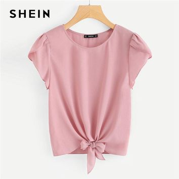 SHEIN Pink Petal Sleeve Knot Front Top Women Round Neck Short Sleeve Casual Blouse Summer New Plain Clothing Blouse