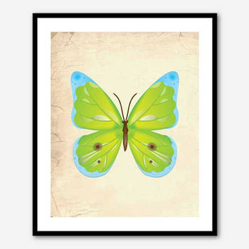 Wall Art - Colorful Butterfly - Room Decor - Blue, Yellow, Green, or Orange Butterly - 8 x 10 print on vintage background