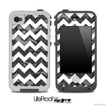 Black Lace and White Chevron Pattern for the iPhone 5 or 4/4s LifeProof Case