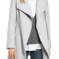 Halogen® Asymmetrical Zip Boiled Wool Blend Coat (Regular & Petite) | Nordstrom