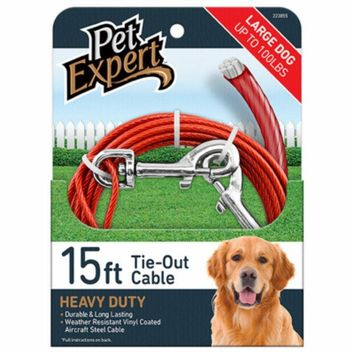 Pet Expert® PE223855 Heavy-Weight Steel Aircraft Dog Tie Out Cable, 15'