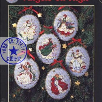 Cross Stitch Kit Angels on High Christmas Tree Ornament 6 pieces Ornaments Dim 00285