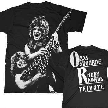 Ozzy Osbourne T-shirt - Ozzy Osbourne Randy Rhoads Tribute Album Cover Artwork. Men's Black Shirt