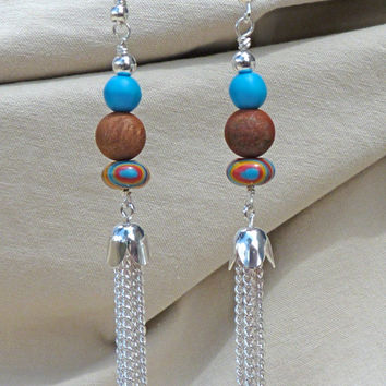 Southwestern Tassel Earrings, jasper, Cinderella Turquoise, rainbow stone, red, blue, silver plated, boho, rustic, dangle, drop, Christmas