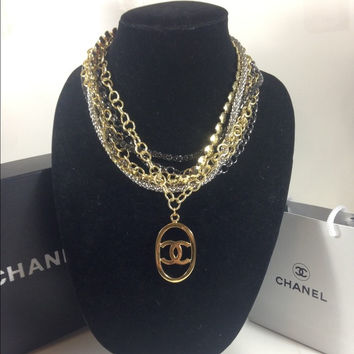 Silver And Gold Necklace W Chanel Charm (Handmade)
