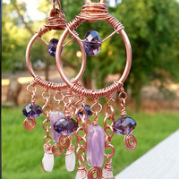 Copper Wire Wrapped Earrings with Rose Quartz and Purple Glass Beads - Hand Formed Copper Chandelier Earrings - Purple Bohemian Earrings
