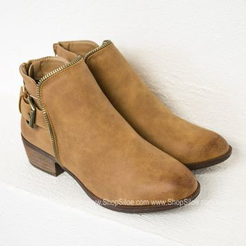 Tan Zipper Chloe Booties