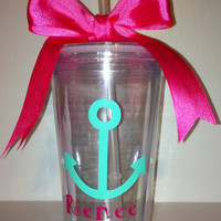 Monogrammed Personalized Cute Anchor Tumbler Cup
