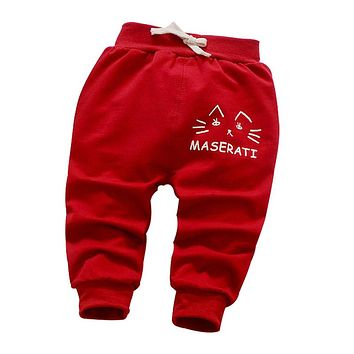 babys pants 1 piece kids pants 2017 new spring/autumn 0-3 year small cat head pattern casual pants boys/girls trousers