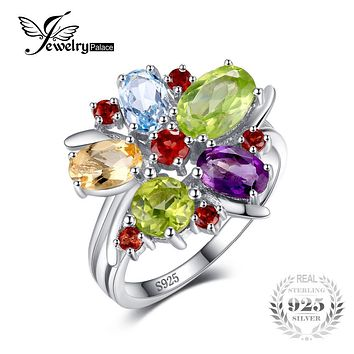 JewerlyPalace 2.5ct Natural Amethyst Garnet Peridot Topaz Ring Pure Solid Genuine 925 Sterling Silver Brand Hot Fashion Gem